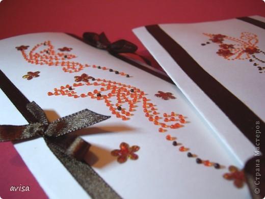 Серия открыток к 8 марта. Бумага, атласные ленты, витражные краски, пайетки. фото 1