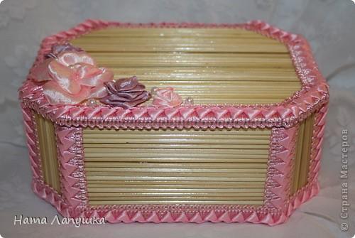 Мастер-класс 8 марта День матери День рождения Свадьба МК Шкатулка из шпажек Розовое настроение  фото 22