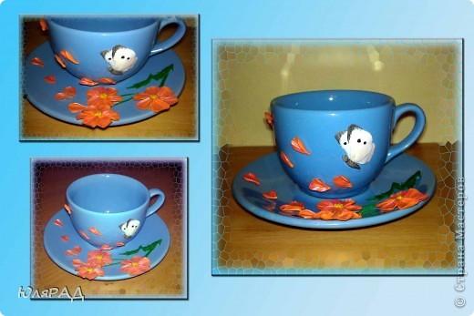 Вариант №3. Долго решала с цветами, какие будут..........в итоге получились такие даже не знаю что за сорт))) Но чашечка оказалась какой-то пустоватой, добавила бабочку капустницу, вроде ничего...........а главное нежненько, то что я люблю))) фото 1
