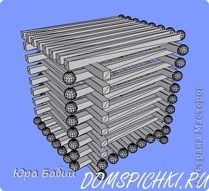 Чуть ниже указано, как делать такой домик, шириной у 8 спичек, но у меня сделано с шириной у 7 спичек, так как 8 спичек не влезают. фото 10