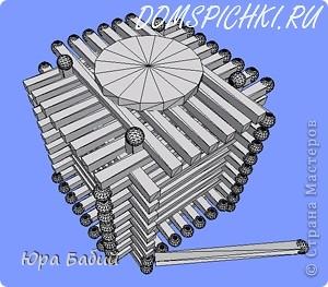 Чуть ниже указано, как делать такой домик, шириной у 8 спичек, но у меня сделано с шириной у 7 спичек, так как 8 спичек не влезают. фото 12