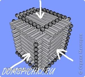 Чуть ниже указано, как делать такой домик, шириной у 8 спичек, но у меня сделано с шириной у 7 спичек, так как 8 спичек не влезают. фото 16