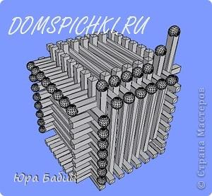 Чуть ниже указано, как делать такой домик, шириной у 8 спичек, но у меня сделано с шириной у 7 спичек, так как 8 спичек не влезают. фото 18