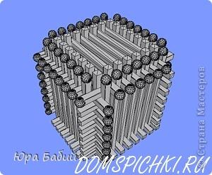 Чуть ниже указано, как делать такой домик, шириной у 8 спичек, но у меня сделано с шириной у 7 спичек, так как 8 спичек не влезают. фото 19
