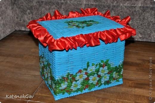 Вот и я добралась до плетения из газетных трубочек - срочно понадобилась коробочка для творчества :)  фото 1