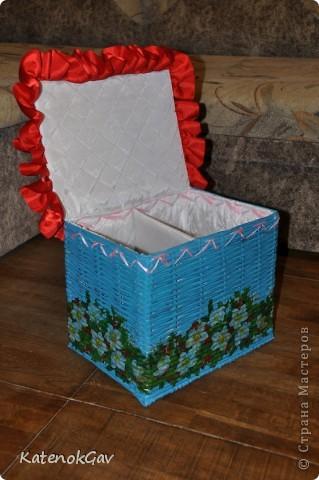 Вот и я добралась до плетения из газетных трубочек - срочно понадобилась коробочка для творчества :)  фото 3