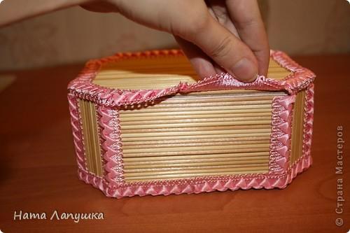 Мастер-класс 8 марта День матери День рождения Свадьба МК Шкатулка из шпажек Розовое настроение  фото 15