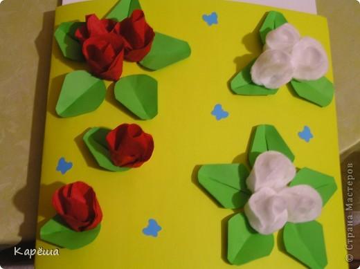 Всем привет и с праздником!!! Эти открыточки мы делали с младшим сыном Романом, ему 7 лет. А идеи взяли у замечательной женщины Татьяны Просняковой, вот здесь: http://stranamasterov.ru/node/48996 http://stranamasterov.ru/node/12688 http://stranamasterov.ru/node/12688 Эта открыточка уже подарена учительнице. фото 4