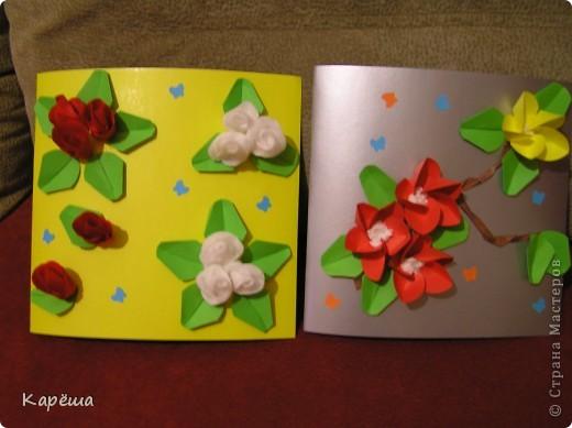 Всем привет и с праздником!!! Эти открыточки мы делали с младшим сыном Романом, ему 7 лет. А идеи взяли у замечательной женщины Татьяны Просняковой, вот здесь: http://stranamasterov.ru/node/48996 http://stranamasterov.ru/node/12688 http://stranamasterov.ru/node/12688 Эта открыточка уже подарена учительнице. фото 2