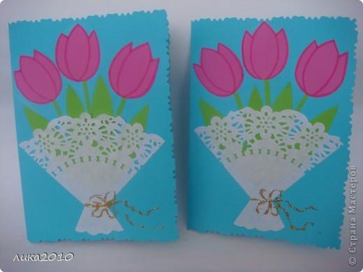 Вот такие открытки мы делали мамам на утренник. фото 2
