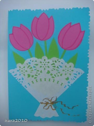 Вот такие открытки мы делали мамам на утренник. фото 1