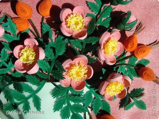 Давно я заглядывалась на шиповник Натальи Беленко и вот вырастила свой. Сразу и цветёт и плодоносит, это только  квиллинг позволяет одновременно встретиться  весне с  осенью в одной вазочке. фото 4