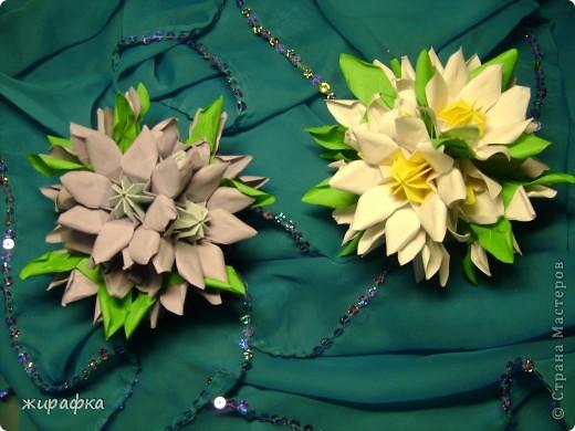 Эти кусудамы сделаны из роз по мастер-классу http://stranamasterov.ru/node/23799?tid=451%2C850 Спасибо Элла Ка . Правда несколько упростился процесс складывания розочек. В этих кусудамах чашелистики от лилий. фото 2