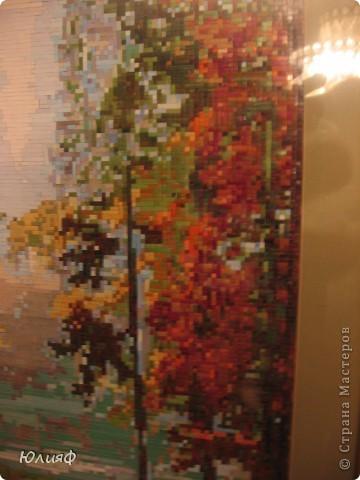 """Здравствуйте. Я уже представляла работы моей родственницы Мининой Ирины Викторовны из соломы. На этот раз это работа в смешанной технике, также с использованием соломы. Работа сделана по схеме для вышивки картины К. Васильева """"Осень""""   фото 3"""