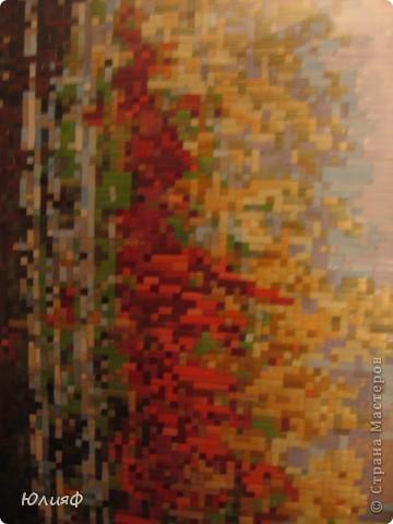 """Здравствуйте. Я уже представляла работы моей родственницы Мининой Ирины Викторовны из соломы. На этот раз это работа в смешанной технике, также с использованием соломы. Работа сделана по схеме для вышивки картины К. Васильева """"Осень""""   фото 4"""