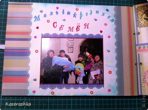 Обложку для альбома делала из картона 2 мм. Использовала бумагу из набора Sea Glass. Буквы вырезала из двух слоев бумаги, рыбки и узоры это горячий эмбоссинг. фото 4