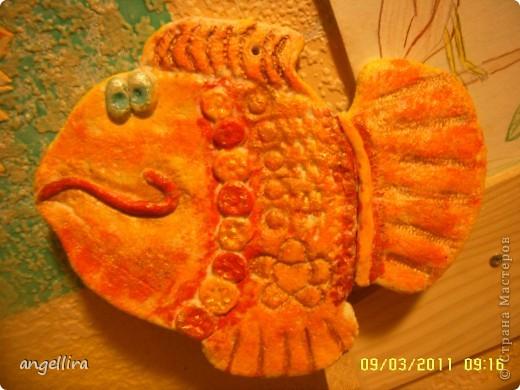 Большое спасибо за МК Kukushechka http://stranamasterov.ru/node/50494?c=favorite  вот такая рыбка приплыла ко мне, чтоб исполнить 3 желания :) Лепила я её из неправильного соленого теста,но выкидывать жалко было. Сохла наверно неделю, вчера всё таки расписала,мне понравилось :) мужу тоже! а вам?