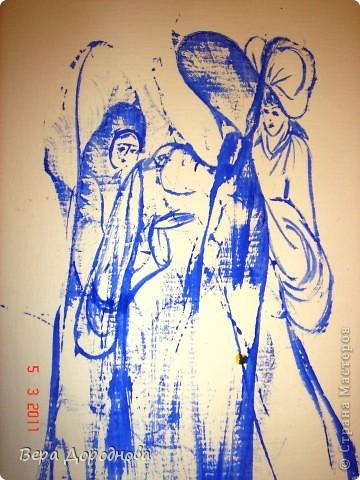 Рисовали с детками 3-4 лет нитками по мастер-классу  мастерицы ariNna (http://stranamasterov.ru/node/6217?tid=451%2C903). Неожиданно у меня получилась вот такая интересная картина: богатая дама подаёт нищенке милостыню!