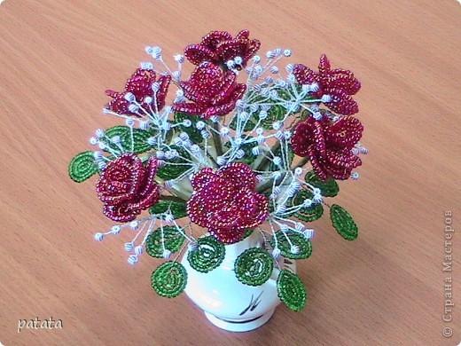 Поделка изделие День рождения Бисероплетение Чайные розы Бисер фото 2.