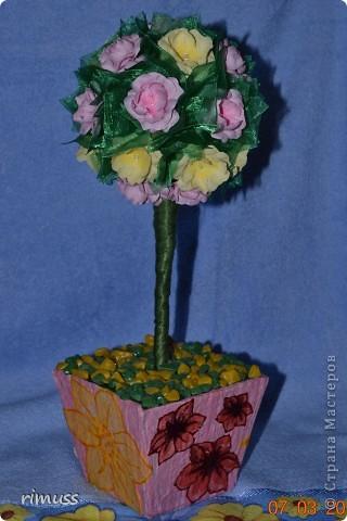 """вот такие деревья """"выросли"""" у меня для мам к празднику, они у меня первенцы ,даже жалко было дарить. цветы сделаны из нажелатиненой ткани, горшечки делала из пеноплпстовых лотков от печеньев, пробовала декупаж фото 3"""