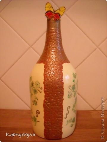 """Совершенно случайно мною была найдена пустая бутылка из-под """"Сангрии"""", я решила её немного видоизменить. фото 2"""
