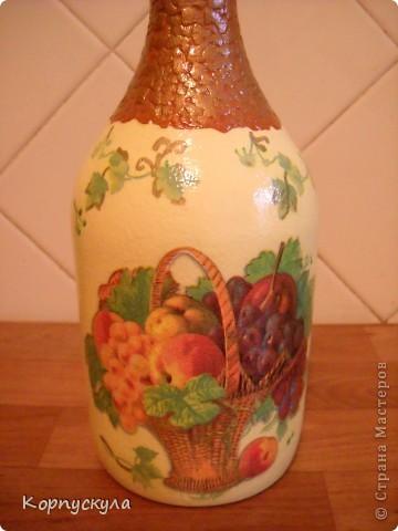 """Совершенно случайно мною была найдена пустая бутылка из-под """"Сангрии"""", я решила её немного видоизменить. фото 3"""