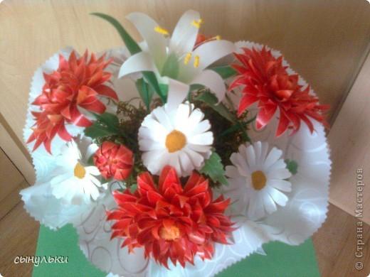 Моя первая работа в технике пергамано. Букет цветов любимой бабуле к 8 Марта. фото 3