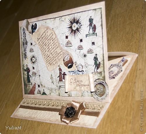 """У мужа через пару дней День рождения, вот решилась сделать ему подарок. Муж увлекается металлопоиском и реставрацией находок времен Киевской Руси, поэтому и открытку постаралась сделать """"в тему"""" фото 2"""