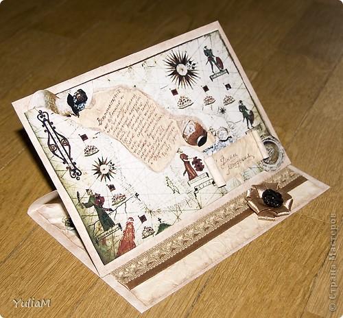 """У мужа через пару дней День рождения, вот решилась сделать ему подарок. Муж увлекается металлопоиском и реставрацией находок времен Киевской Руси, поэтому и открытку постаралась сделать """"в тему"""" фото 3"""