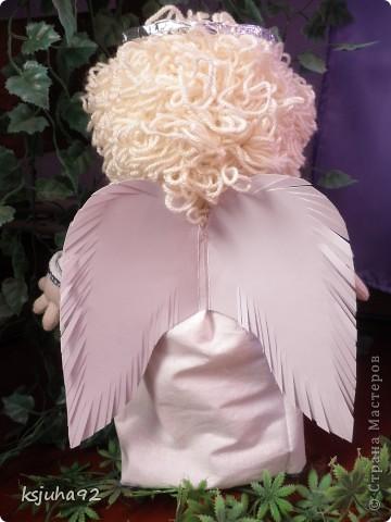 """Такий красавчик - ангелочок з""""явився у мене в подарунок на 8 Березня. Зроблений із трикотажу. Перша спроба робити ляльку у цьому виді техніки. фото 2"""