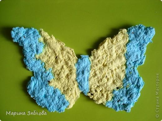 Вот таких бабочек мы сделали с дочечкой.А секрет в том , что в бабочках есть семена, которые потом можно посадить. Можно сделать открытку с  разным фоном , формой и удивить того,  кому она предназначена.  фото 9