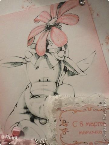 Открытка для игры по скетчу http://stranamasterov.ru/node/159827?c=favorite В изготовлении открытки использовала бумагу для акварели, кружево, атласный бантик и стразы. Картинку распечатала на принтере, края тонировала акварельным карандашом. фото 3