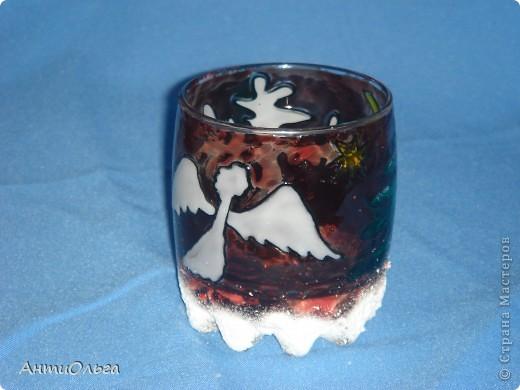 Делаем подсвечники. Витражные краски, стаканы-бокалы, украшения-камушки (на клей-пистолет). фото 8