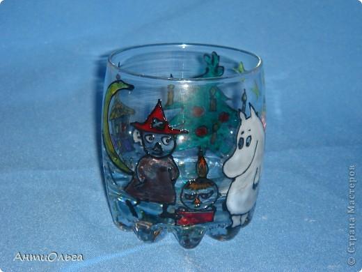 Делаем подсвечники. Витражные краски, стаканы-бокалы, украшения-камушки (на клей-пистолет). фото 9