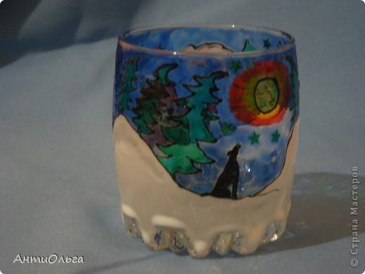 Делаем подсвечники. Витражные краски, стаканы-бокалы, украшения-камушки (на клей-пистолет). фото 12