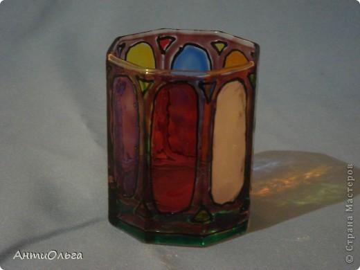 Делаем подсвечники. Витражные краски, стаканы-бокалы, украшения-камушки (на клей-пистолет). фото 16