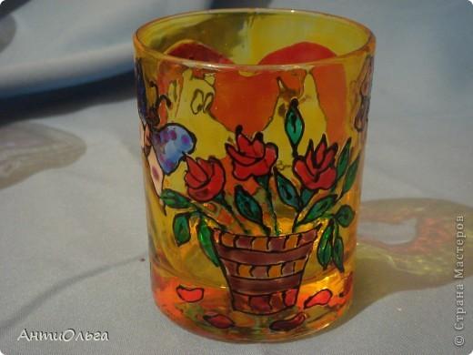 Делаем подсвечники. Витражные краски, стаканы-бокалы, украшения-камушки (на клей-пистолет). фото 18