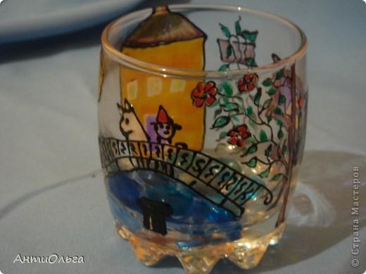 Делаем подсвечники. Витражные краски, стаканы-бокалы, украшения-камушки (на клей-пистолет). фото 19