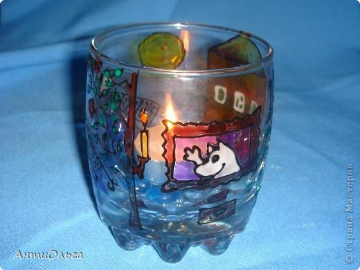 Делаем подсвечники. Витражные краски, стаканы-бокалы, украшения-камушки (на клей-пистолет). фото 22