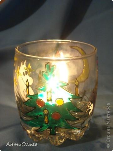 Делаем подсвечники. Витражные краски, стаканы-бокалы, украшения-камушки (на клей-пистолет). фото 28