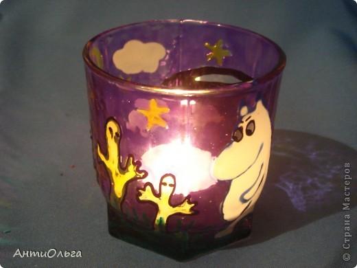 Делаем подсвечники. Витражные краски, стаканы-бокалы, украшения-камушки (на клей-пистолет). фото 31