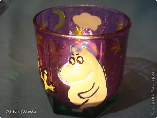 Делаем подсвечники. Витражные краски, стаканы-бокалы, украшения-камушки (на клей-пистолет). фото 32