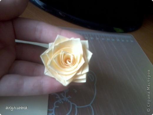 хочу поделиться своим способом изготовления розы. Для этого цветка я взяла 3 полоски бумаги (у меня простая цветная для принтера) склеиной между собой, ширина 2 см, зубочистка и ПВА фото 9