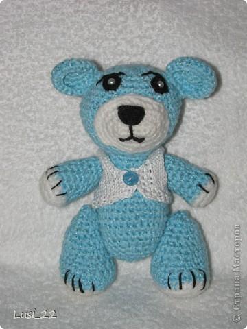 Моя первая работа. Выполнена по этому описанию http://masterjournal.ru/blog/knitting/58.html. Вяжу вещи,но игрушки никогда не пробовала. Скажу вам, ну очень понравилось. На очереди ещё много игрушек.  Ниток пошло около 40 грамм. фото 2