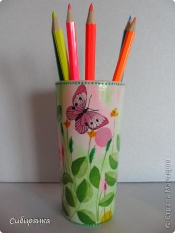 Карандашницы. Использовала высокие стаканы. фото 3
