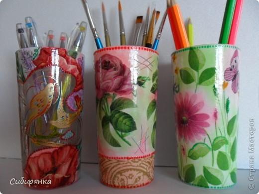 Карандашницы. Использовала высокие стаканы. фото 1