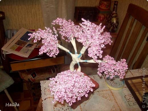 """в 2 мисочки розовый бисер разных оттенков в одну миску-мелкий,в другую крупный бисер так ветки не будут """"лысыми"""",да и дерево хочу крупное. проволока для бисера 0,3 мм сечением,зеленая. фото 6"""