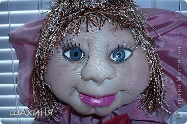 портретно шаржевая кукла-удача. Глаза из самозатвердевающей массы,краска илак акриловые. Волосы из остатков 3-х цветов нитяных штор! фото 1