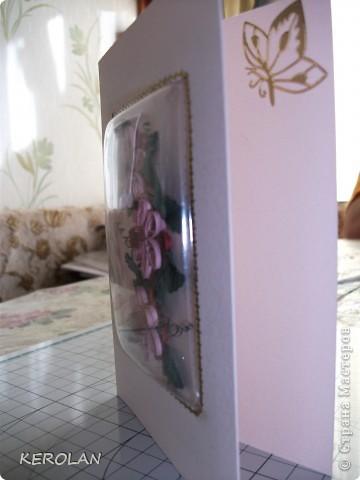 Здравствуйте, всем!!! Хочу поделиться со своей новой коллекцией. Открытки выполнены в квиллинге и 3-д бумагопластике.  Первая  открытка выполнена из полос в 1,5 мм, то есть половина ширины нашей полоски и спрятана под пластмассовый чехольчик готовой заготовки. фото 2