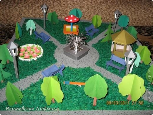 Вот такой макет городского парка культуры и отдыха мы сделали в школу на конкурс. Сейчас очень актуальной становится проектная деятельность школьников (по новым стандартам обучения).Вот и нам предложили принять участие в создании проекта на экологическую тему. фото 1